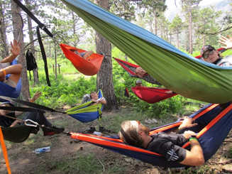 scouts in hammocks