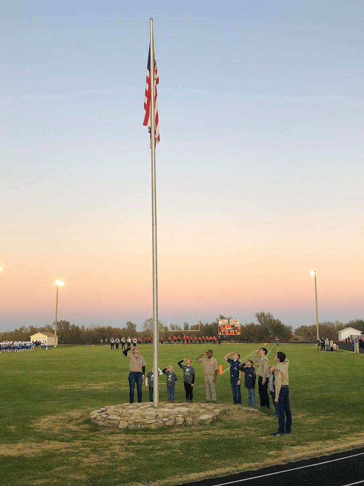 Hodgeman Scouts at flag